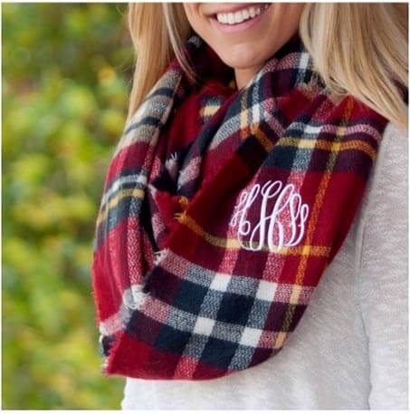 Fall Red plaid scarf